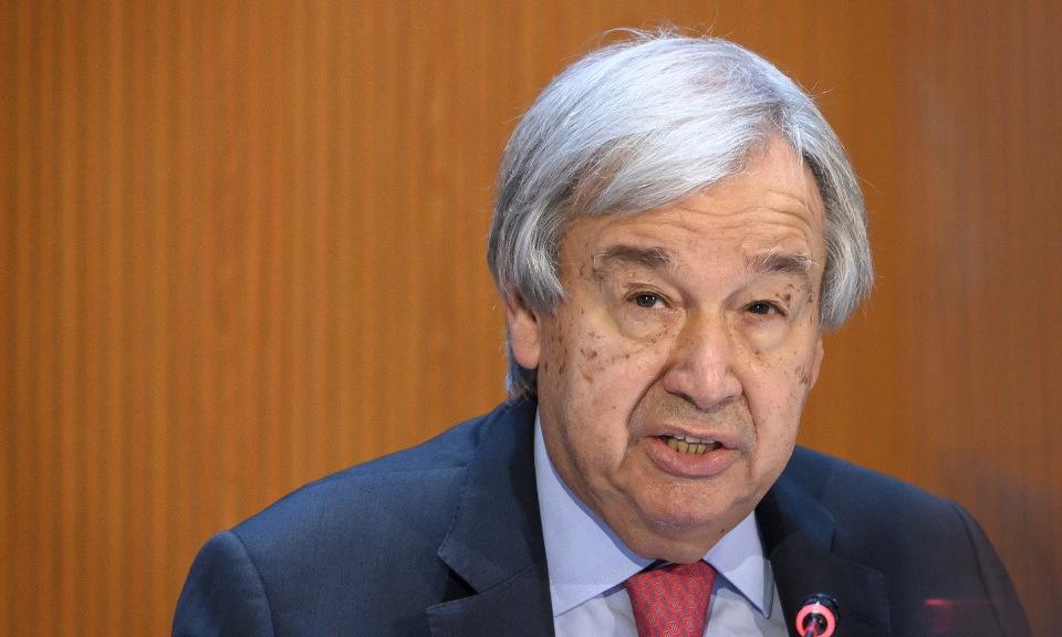 Tổng thư ký Guterres trong cuộc họp ở Geneva hôm 13/9. Ảnh: AFP.