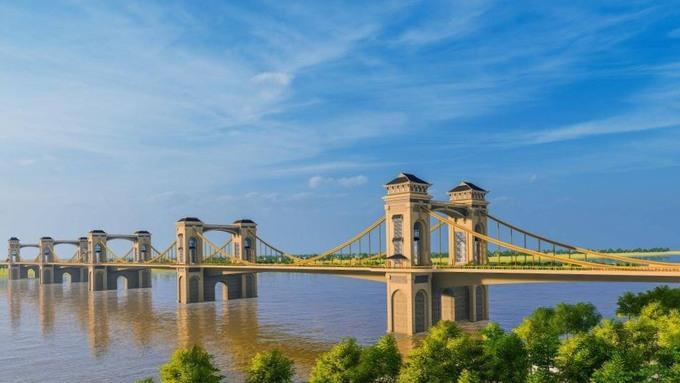Phối cảnh một phương án kiến trúc của cầu Trần Hưng Đạo. Ảnh:TEDI.