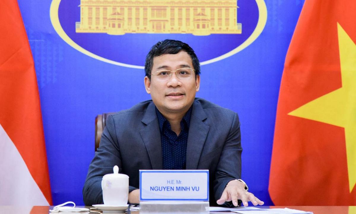 Thứ trưởng Nguyễn Minh Vũ trong cuộc hội đàm hôm nay. Ảnh: BNG.