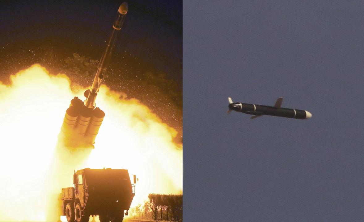 Tên lửa hành trình Triều Tiên khai hỏa (trái) và trên đường bay trong ảnh được công bố hôm 13/9. Ảnh: KCNA.