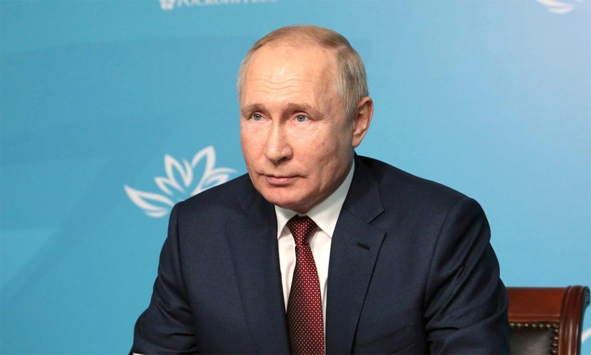 Tổng thống Nga Vladimir Putin trong cuộc hội đàm trực tuyến ngày 3/9. Ảnh: Điện Kremlin.