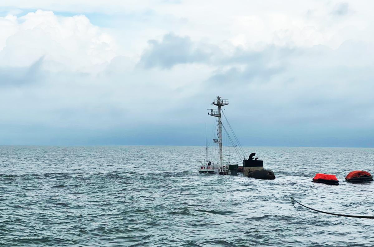 Tàu Mỹ An 1 bị đắm. Ảnh: Cảng vụ Hàng hải Vũng Tàu cung cấp.