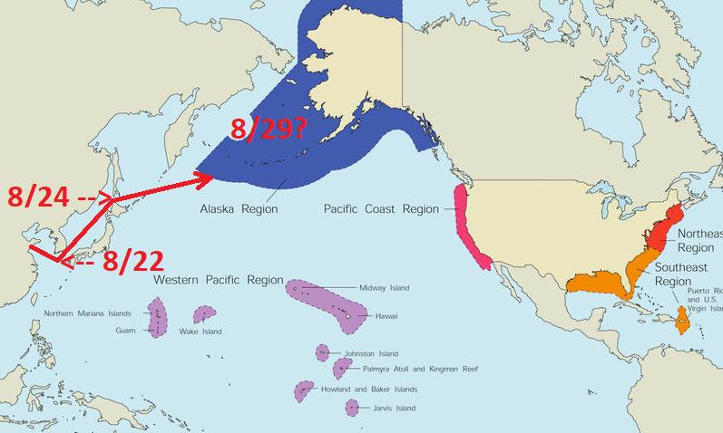 Hành trình của nhóm tàu chiến Trung Quốc và vùng đặc quyền kinh tế Alaska (màu xanh). Đồ họa: Twitter/Vcdgf555.