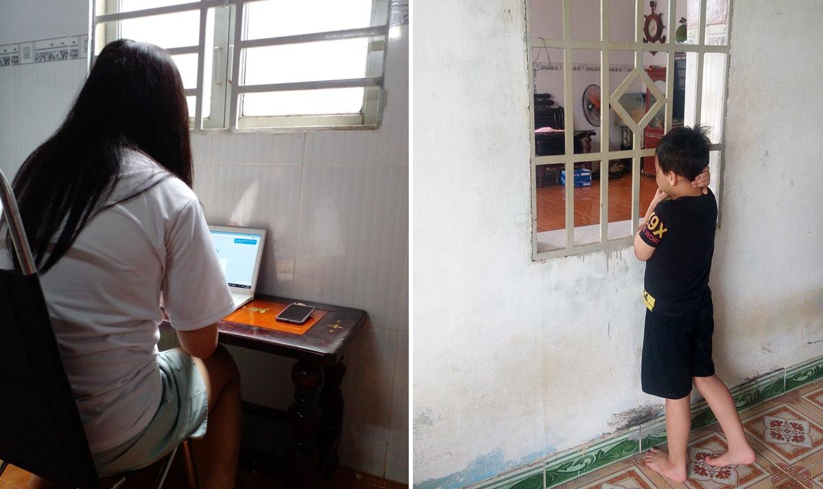 Khánh Như (trái) và Đăng Huy đang làm quen cuộc sống mới tại nhà của ông bà ngoại ở xã Thanh Bình, huyện Trảng Bom, Đồng Nai. Ảnh:Nguyễn Hường