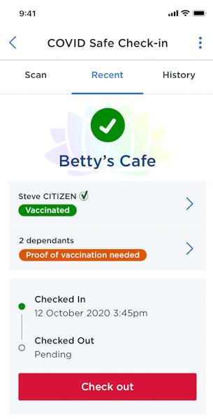 Bản thử nghiệm thẻ xanh vaccine trên ứng dụng Service NSW của bang New South Wales. Ảnh: NSW Government.