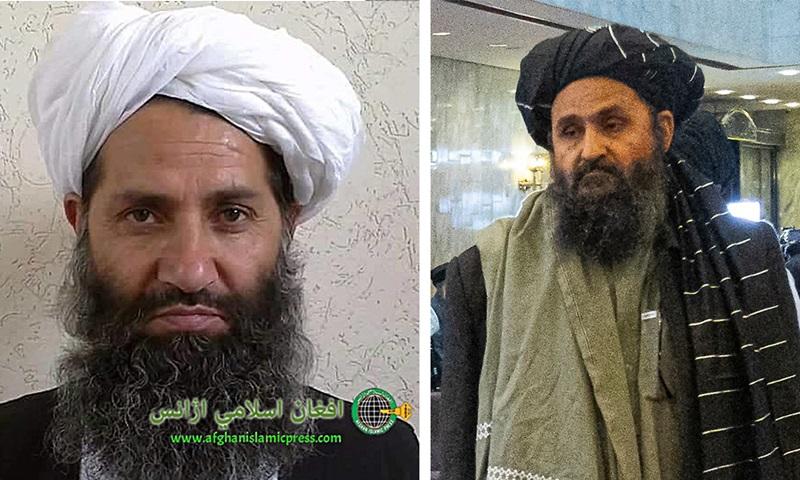 Thủ lĩnh tối cao Taliban Mullah Haibatullah Akhundzada (trái) và Phó thủ tướng lâm thời Mullah Abdul Ghani Baradar. Ảnh: AP.