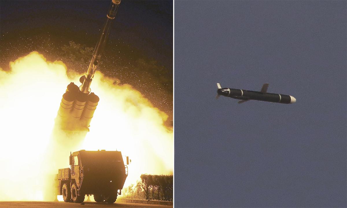 Tên lửa hành trình Triều Tiên khai hỏa (trái) và trên đường bay trong ảnh được công bố ngày 13/9. Ảnh: KCNA.