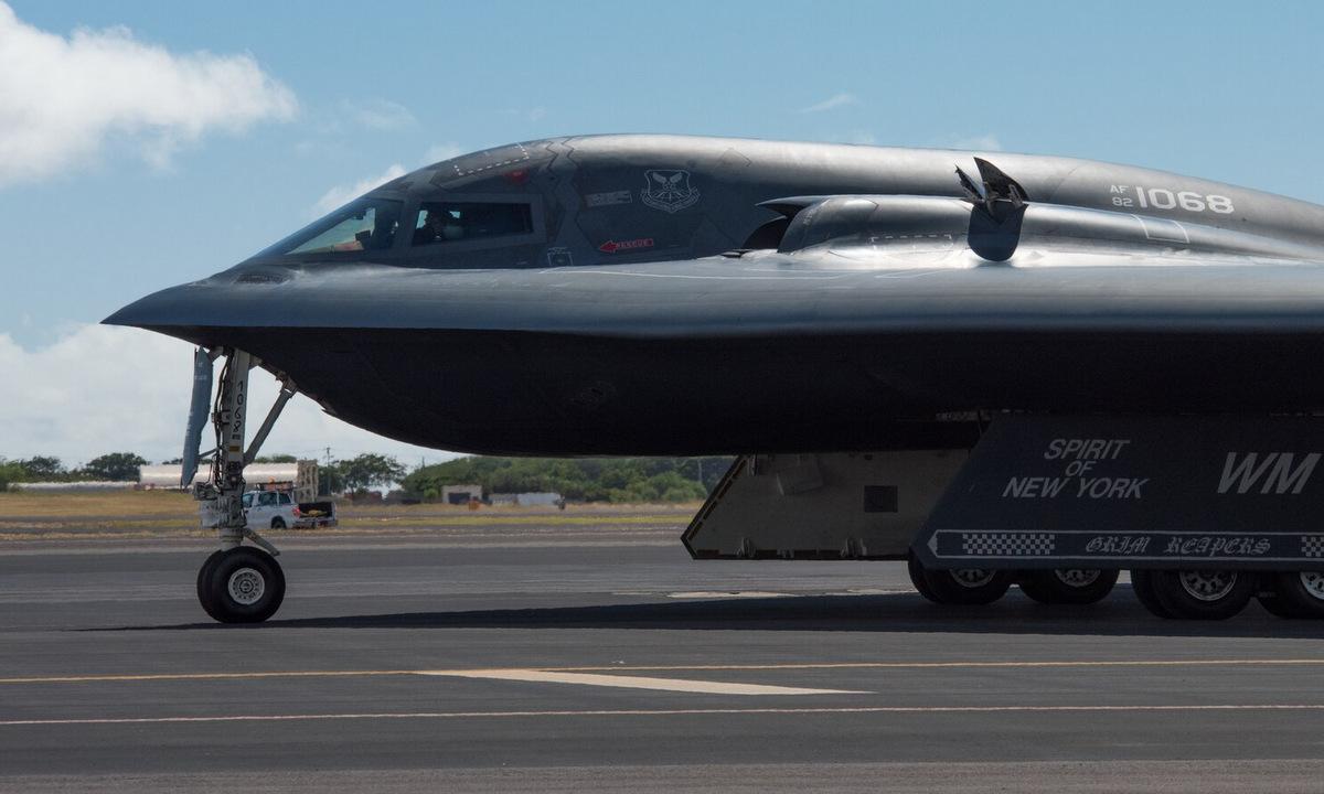 Oanh tạc cơ B-2 đáp xuống Hawaii hồi tháng 1/2019. Ảnh: USAF.