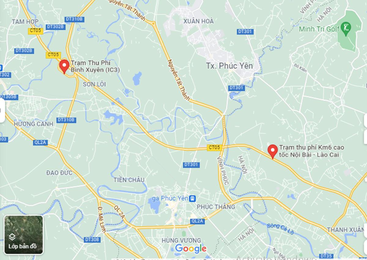 Trạm thu phí Km6 dừng thu phí nên chủ xe phải trả phí tại trạm Bình Xuyên (IC3).