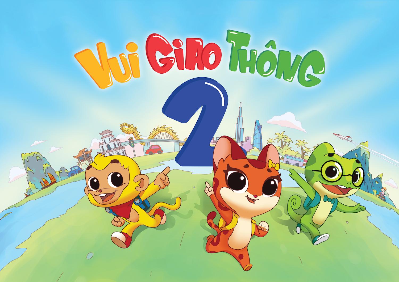 3 nhân vật Bi (Khỉ) – Bo (Mèo) – Ben (Tắc kè) trong chuỗi phim hoạt hình Vui giao thông mùa 2.