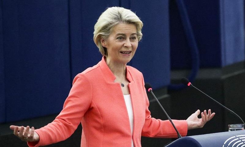 Chủ tịch Ủy ban châu Âu Ursula von der Leyen phát biểu trong phiên họp toàn thể của Nghị viện châu Âu tại Strasbourg, Pháp hôm nay. Ảnh: AFP.
