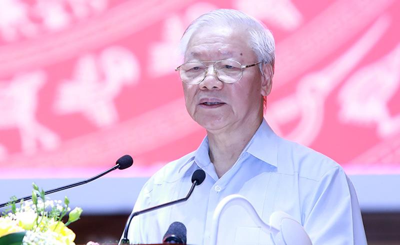 Tổng Bí thư Nguyễn Phú Trọng phát biểu tại Hội nghị toàn quốc các cơ quan Nội chính, sáng 15/9. Ảnh: Noichinh.vn