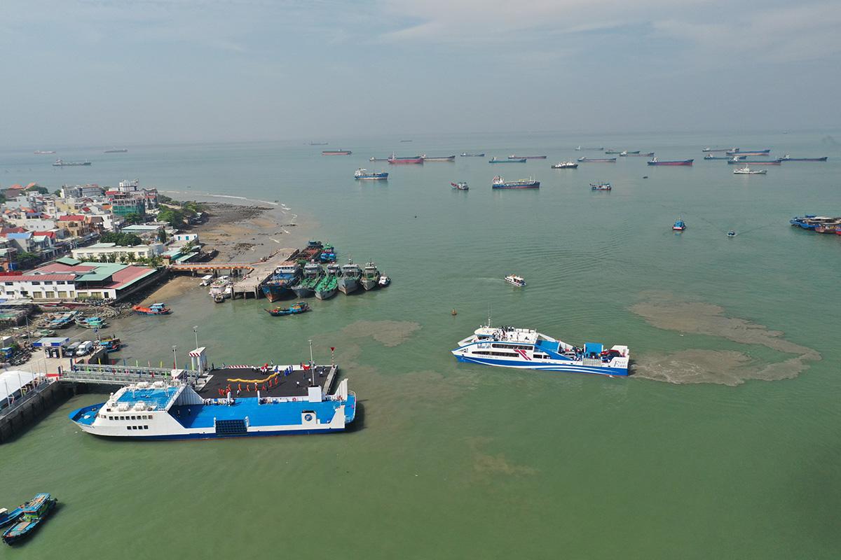 Bến phà Cần Giờ - Vũng Tàu nhìn từ trên cao, tháng 1/2021. Ảnh: Quỳnh Trần