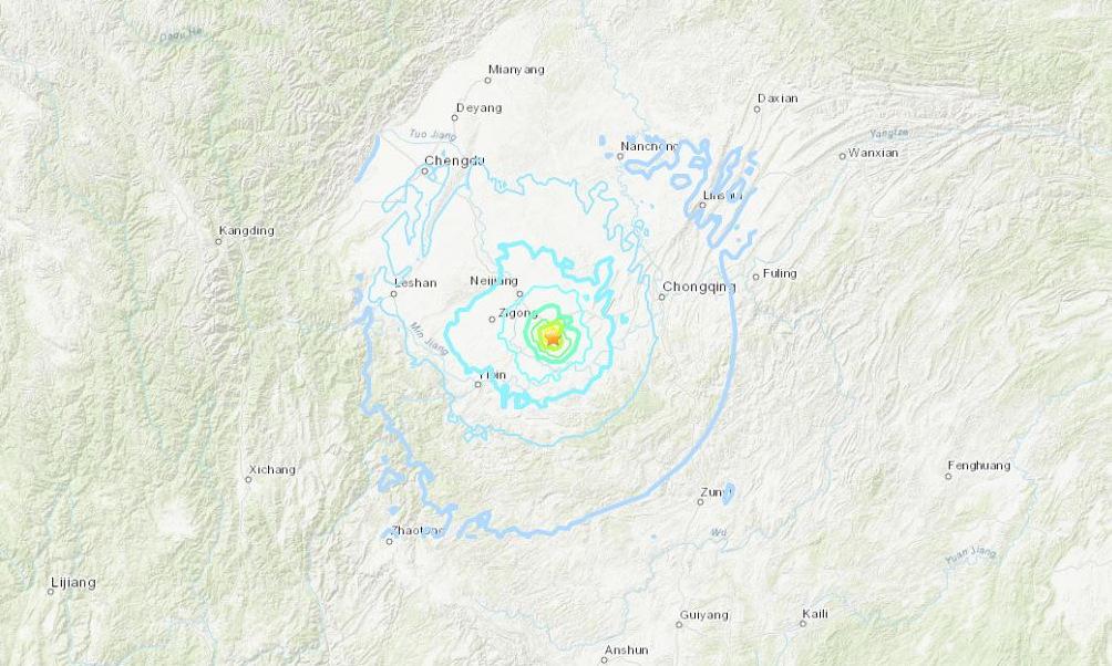 Vị trí tâm chấn của trận động đất sáng 16/9. Đồ họa: USGS.