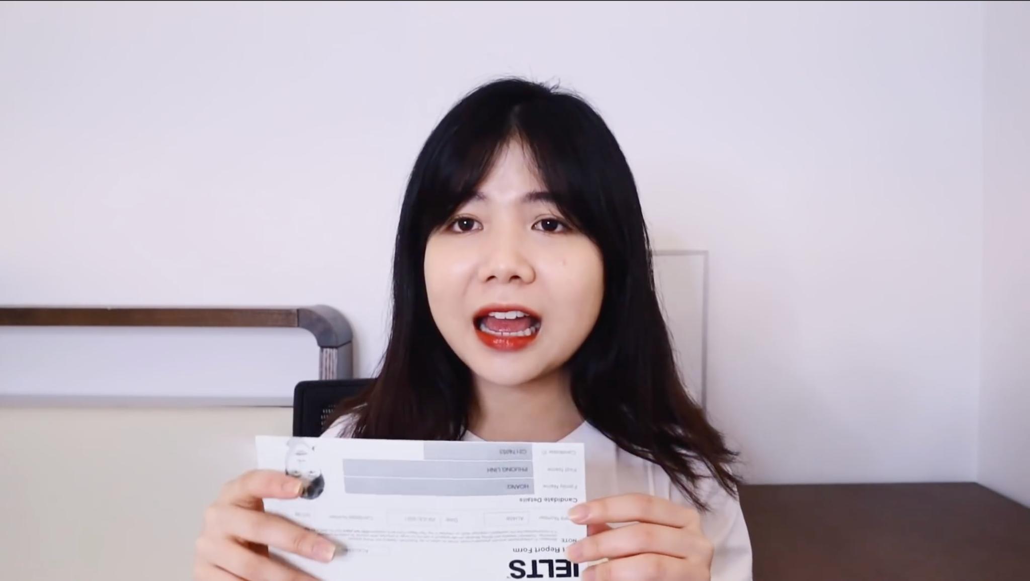 Nhờ được chấm chữa bài qua PREP, Phương Linh đã cải thiện điểm số kỹ năng Writing trong lần thi này. Ảnh chụp màn hình: Youtube @hoangphuonglinh
