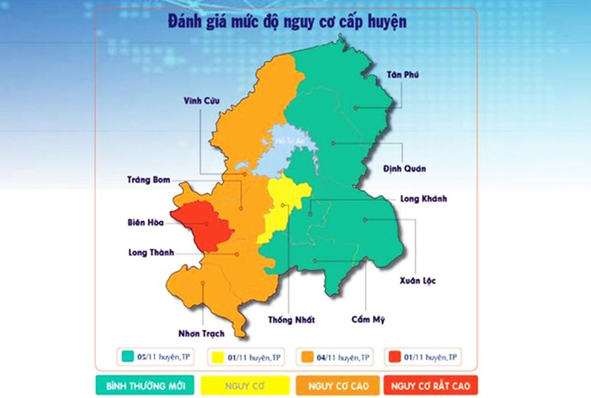 Bản đồ đánh giá mức độ nguy hiểm của Covid-19 tại Đồng Nai. Ảnh: Sở Y tế tỉnh