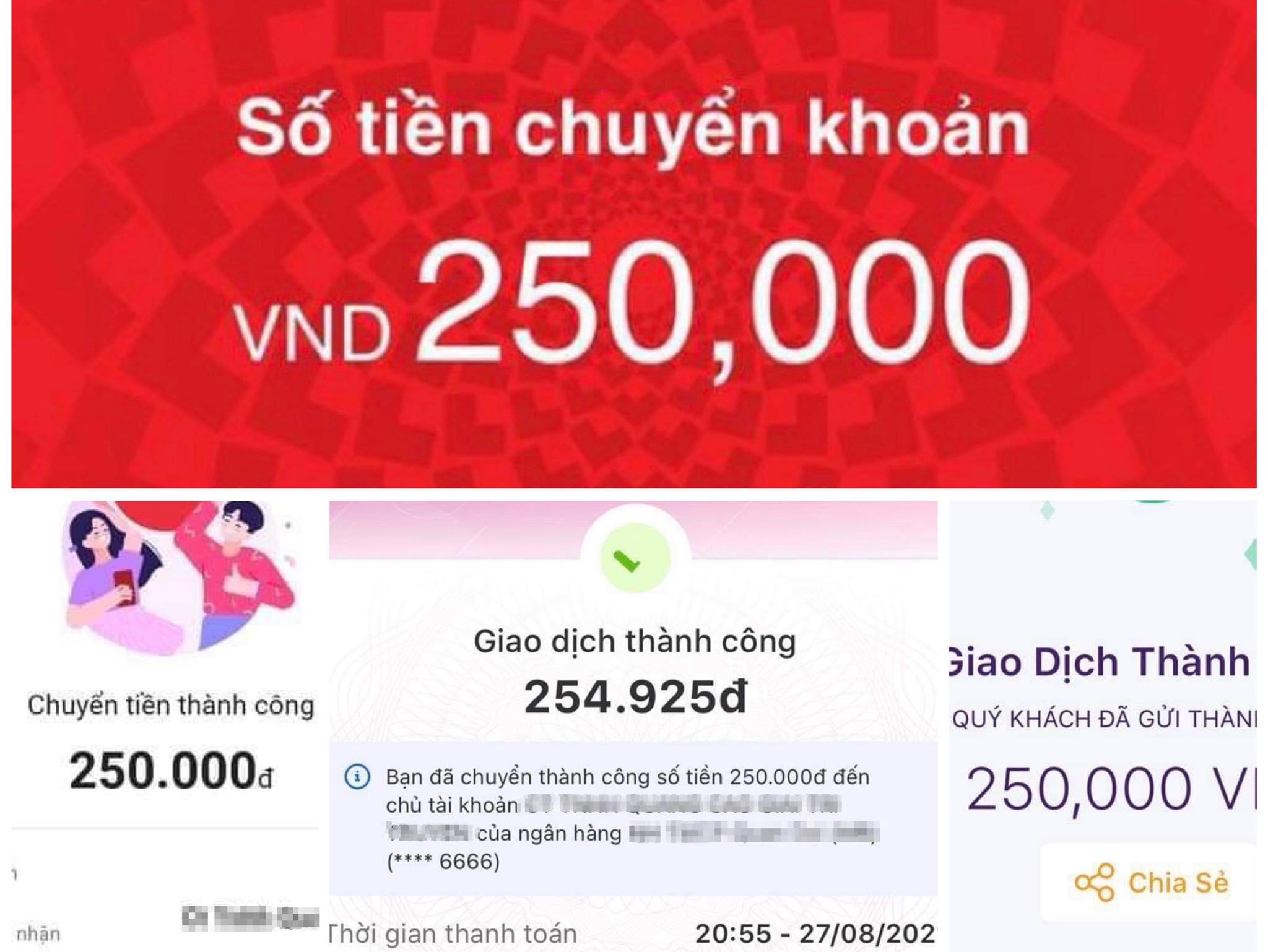 Các cộng tác viên chia sẻ màn hình giao dịch gửi tiền cọc vào tài khoản công ty để đăng ký làm việc. Ảnh: NVCC