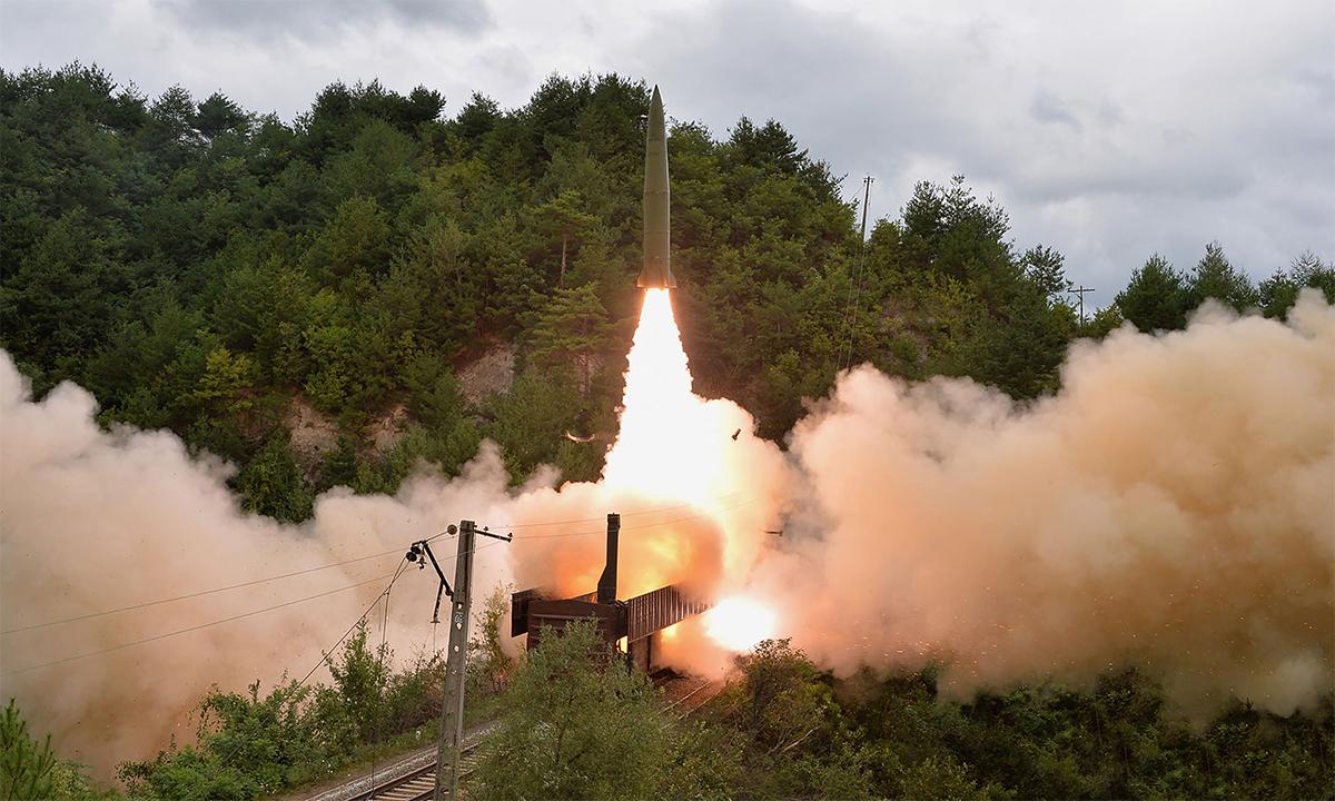 Triều Tiên phóng thử tên lửa đạn đạo từ tàu hỏa ngày 15/9. Ảnh: KCNA.