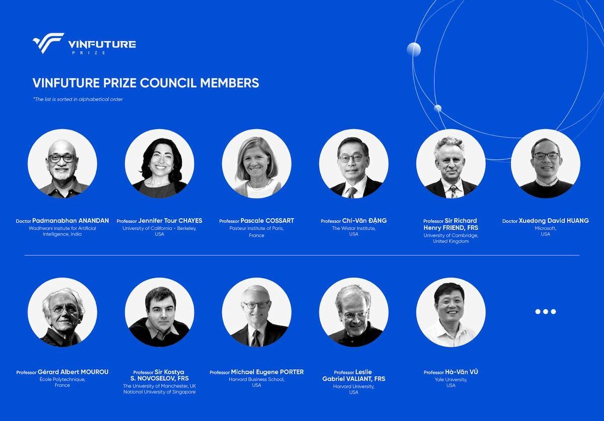 Hội đồng thẩm định của giải thưởng VinFuture. Ảnh: VinGroup