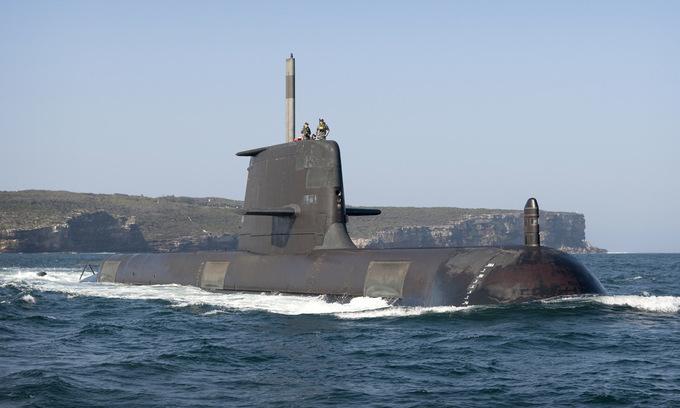 Tàu ngầm HMAS Collins của hải quân Australia. Ảnh: Hải quân Australia.