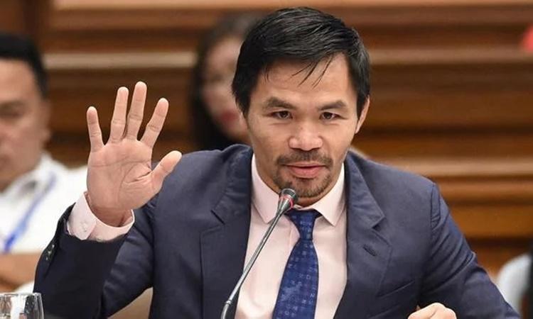 Manny Pacquiao tại một phiên điều trần của Thượng viện Philippines hồi tháng 3/2017. Ảnh: AFP.