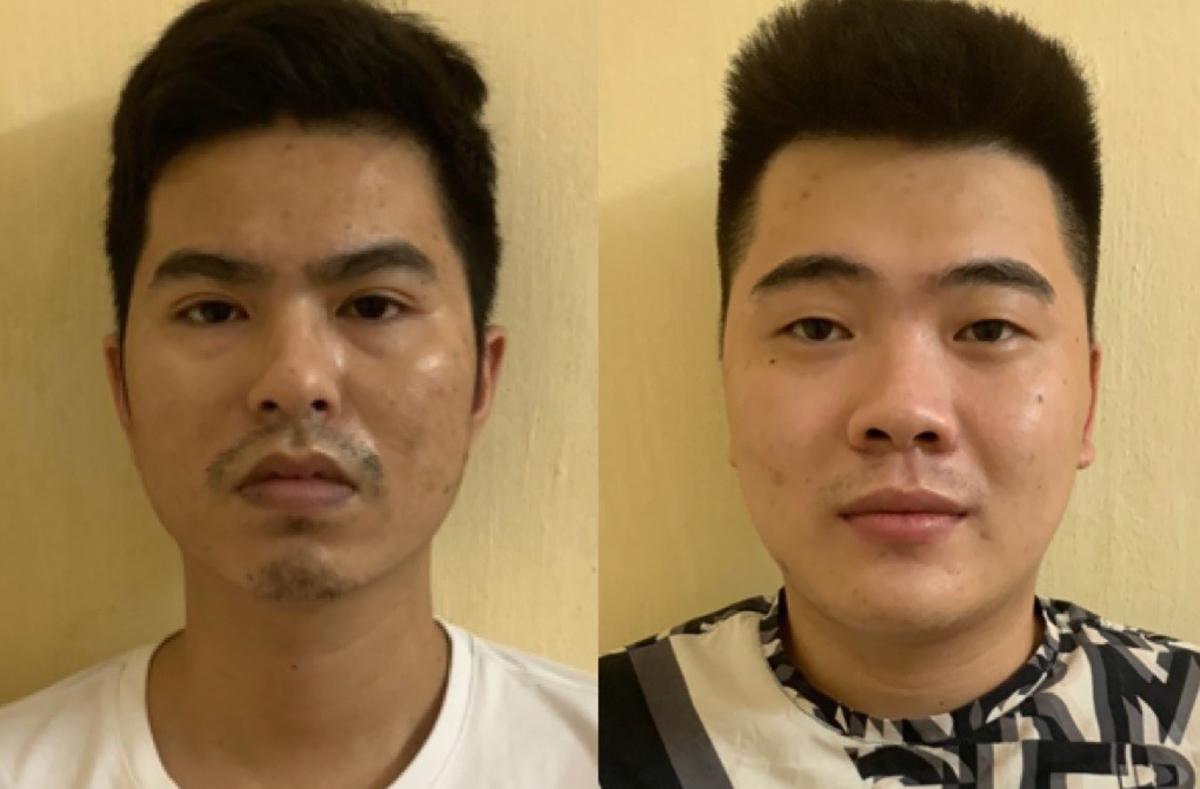 Phong (trái) và Nhiệm tại cơ quan điều tra. Ảnh: Công an cung cấp.