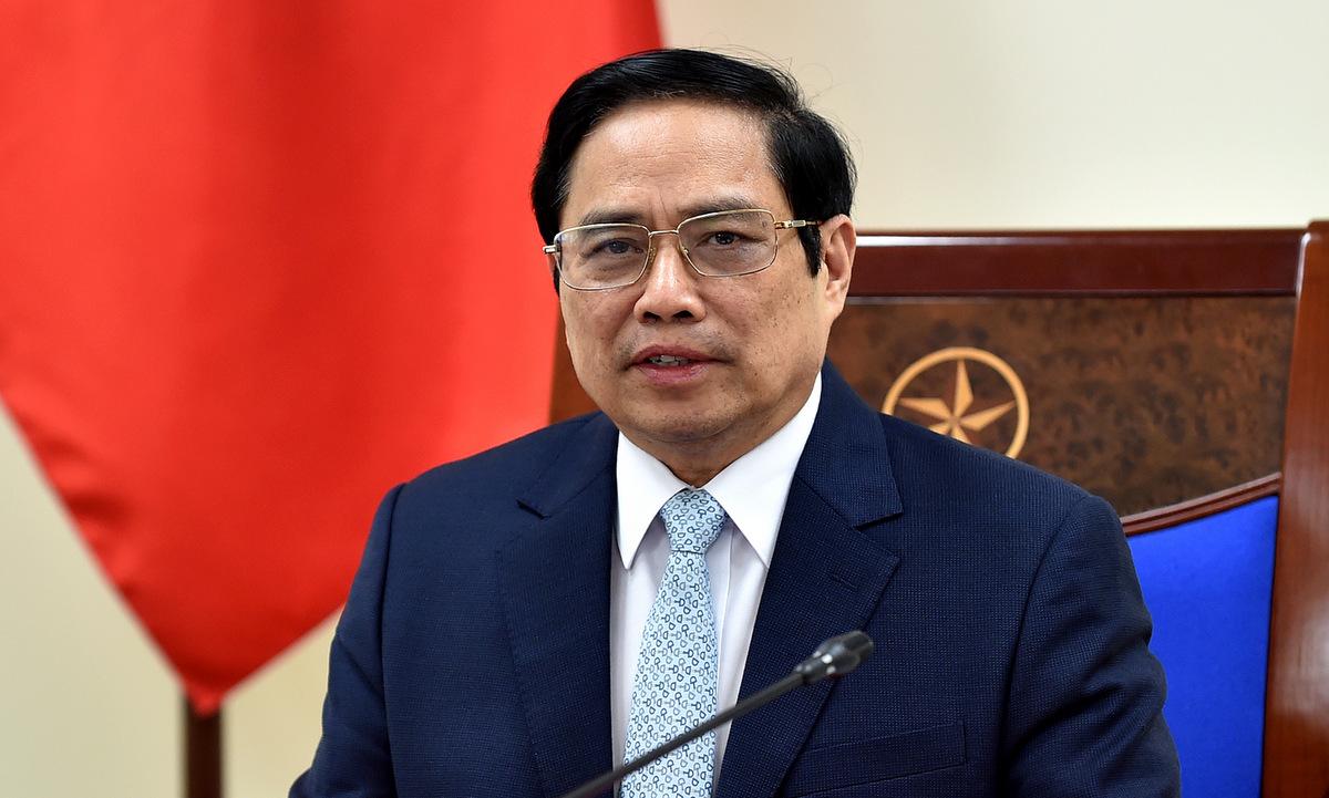 Thủ tướng Phạm Minh Chính trong cuộc họp với giám đốc COVAX hôm nay. Ảnh: BNG.