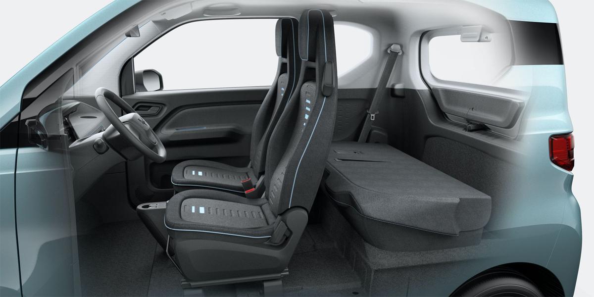 Hongguang Mini EV với nội thất tối giản và hàng ghế sau gập phẳng khi không sử dụng. Ảnh: Wuling