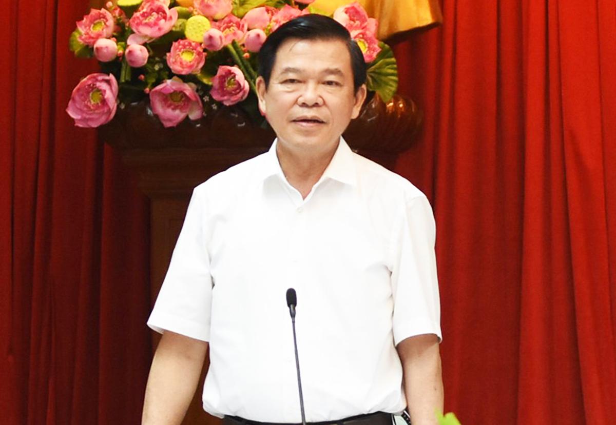 Bí thư Tỉnh uỷ Đồng Nai Nguyễn Hồng Lĩnh phát biểu tại buổi làm việc. Ảnh: Thái Hà