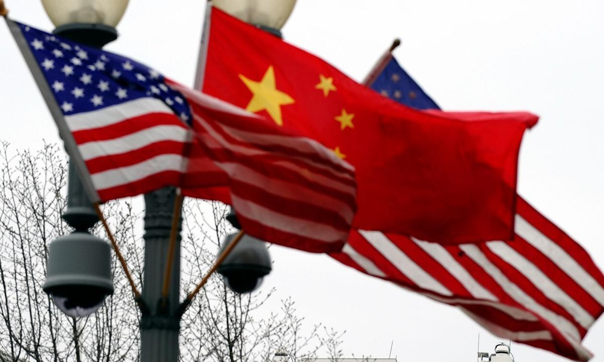 Cờ Mỹ và Trung Quốc ở thủ đô Washington, Mỹ năm 2011. Ảnh: AFP.