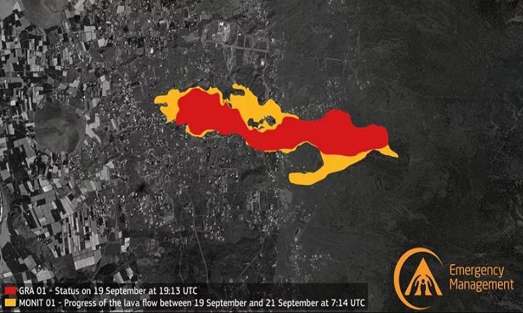 Dữ liệu từ Cơ quan quản lý khẩn cấp Copernicus hé lộ quy mô thiệt hại do vụ phun trào gây ra. Ảnh: Cơ quan quản lý khẩn cấp Copernicus