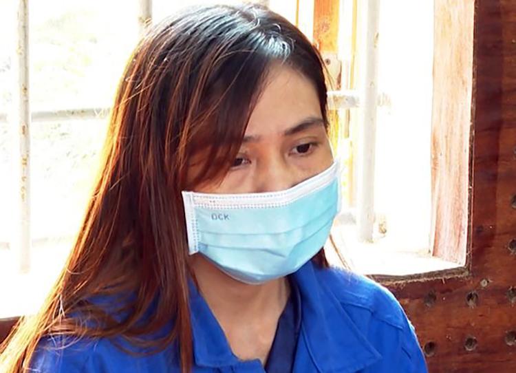 Lê Thị Dung tại cơ quan điều tra. Ảnh: Bình Minh
