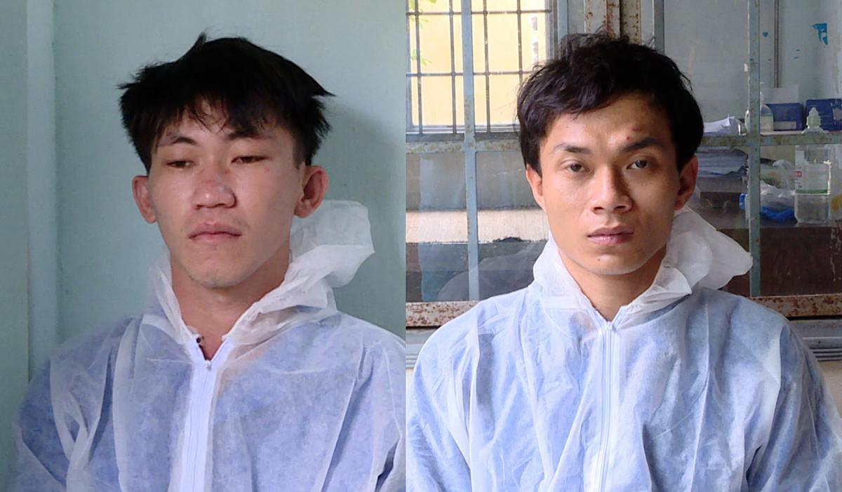 Nhàn (trái) và Minh tại Công an TP Bà Rịa. Ảnh: Quang Bình