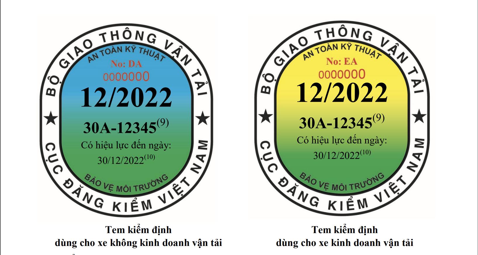 Thiết kế tem đăng kiểm cho ôtô với hai loại màu khác nhau cho xe kinh doanh vận tải và không kinh doanh vận tải theo hướng dẫn của Bộ GTVT, từ 1/10. Ảnh chụp từ Thông tư 16/2021