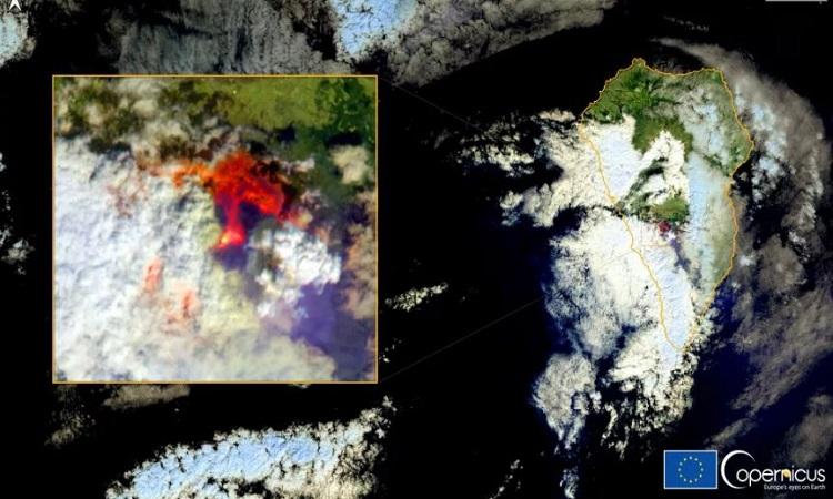 Núi lửa Cumbre Vieja phun trào lần đầu tiên sau nửa thế kỷ. Ảnh: Copernicus