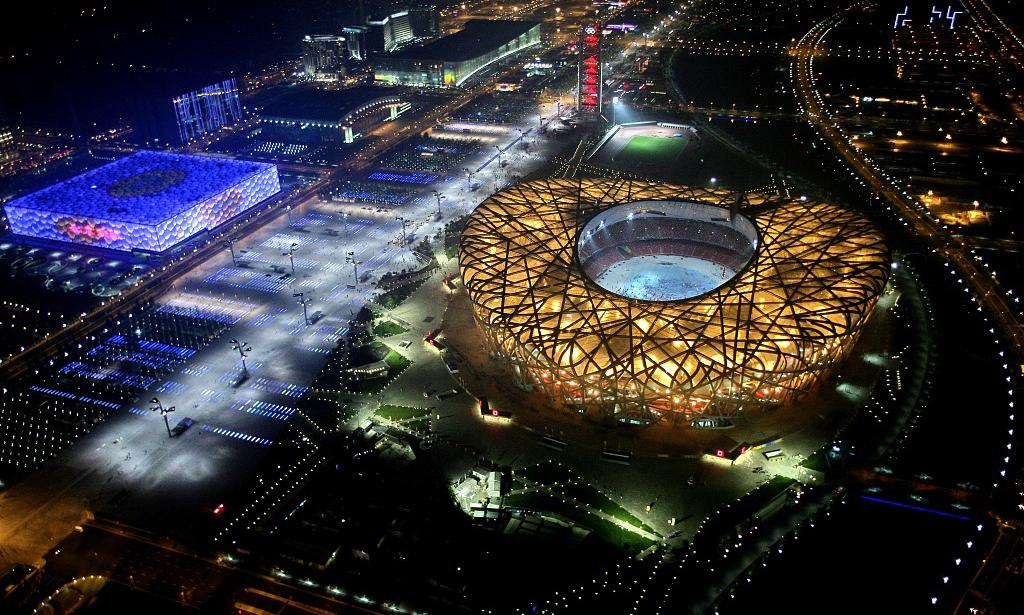 Hình ảnh trên cao của sân vận động Tổ chim trong lễ bế mạc Olympic 2008 ở Bắc Kinh hồi tháng 8/2008. Ảnh: CGTN.