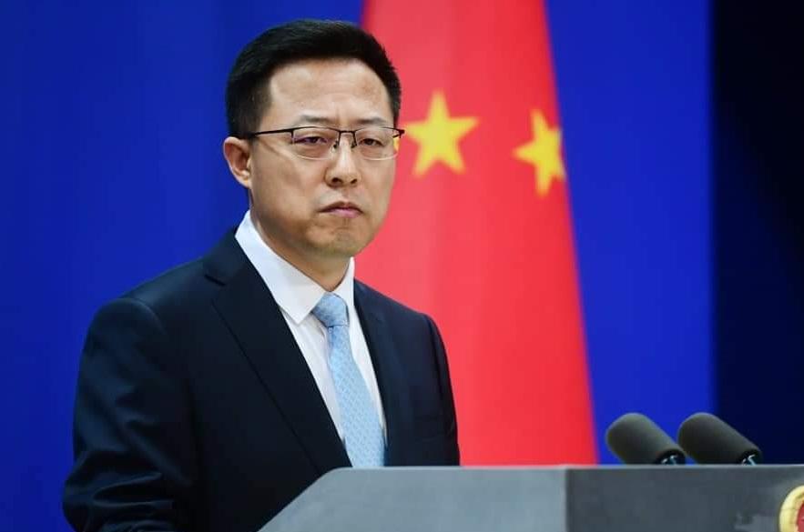 Phát ngôn viên Bộ Ngoại giao Trung Quốc Triệu Lập Kiên tại cuộc họp báo ở Bắc Kinh hôm 22/9. Ảnh: Bộ Ngoại giao Trung Quốc.