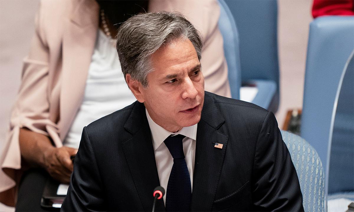 Ngoại trưởng Mỹ Antony Blinken trong cuộc họp của Hội đồng Bảo an Liên Hợp Quốc ngày 23/9. Ảnh: Reuters.