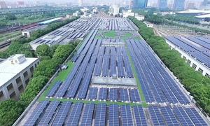 Mô hình ga tàu điện kết hợp năng lượng mặt trời