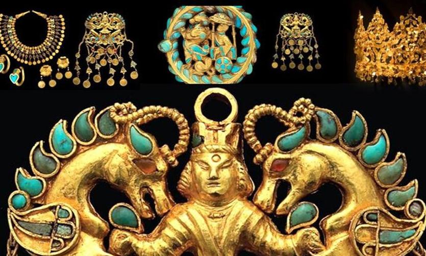 Một số món đồ tìm thấy trong kho báu Bactrian. Ảnh: Twitter/Bagh EBabur