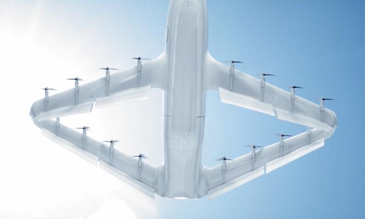 Bộ cánh hình thoi với hệ thống cánh quạt tạo lực đẩy cho máy bay. Ảnh: Craft Aerospace
