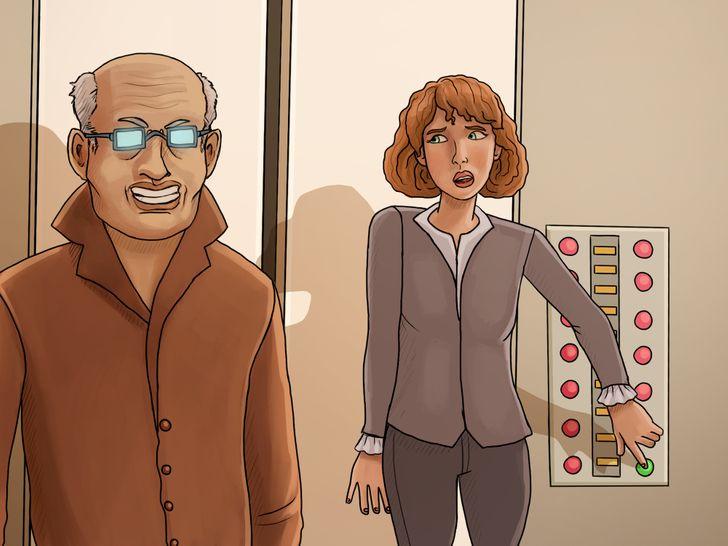 Vị trí đứng giữa bảng nút bấm và cửa thang máy sẽ giúp bạn thoát thân nhanh hơn khi gặp kẻ xấu. Ảnh: Brightside