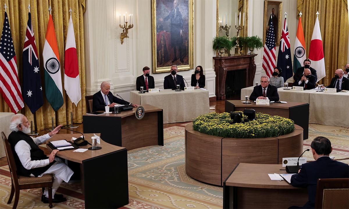 Lãnh đạo các nước thành viên nhóm Bộ Tứ trong cuộc họp tại Nhà Trắng ngày 24/9. Ảnh: Reuters.
