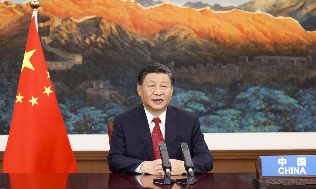 Chủ tịch Trung Quốc Tập Cận Bình phát biểu tại Bắc Kinh qua video trong cuộc họp thứ 76 của Đại hội đồng Liên Hợp Quốc hôm 21/9. Ảnh:Xinhua.