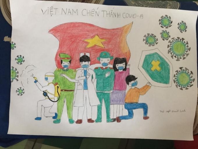 Bức tranh Khánh Linh vẽ tranh gửi cuộc thi. Ảnh:Nhân vật cung cấp.