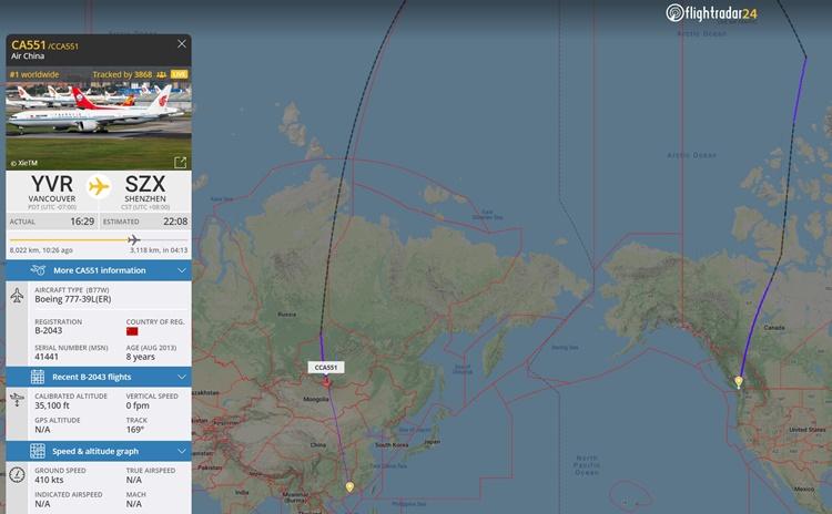 Đường đi của máy bay đưa giám đốc tài chính Huawei Mạnh Vãn Chu về nước hôm 25/9. Ảnh: FlightRadar24.