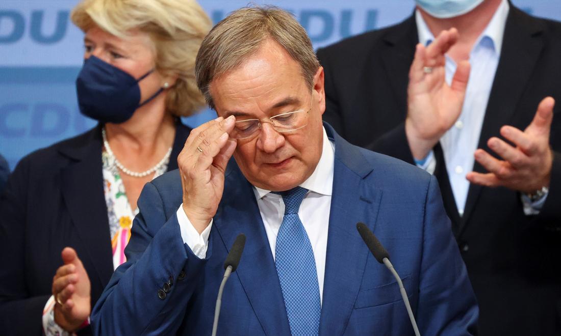 Ứng viên Armin Laschet, lãnh đạo đảng CDU, tại Berlin hôm 26/9. Ảnh: Reuters.