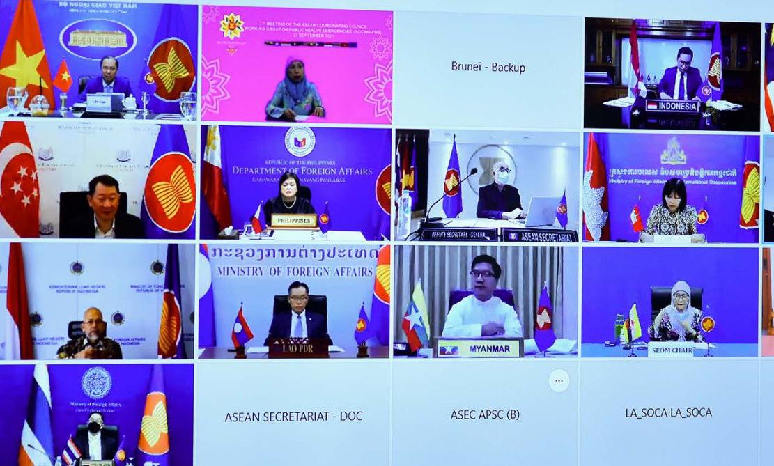 Các quan chức ASEAN trong cuộc họp ACCWG-PHE hôm nay. Ảnh: BNG.