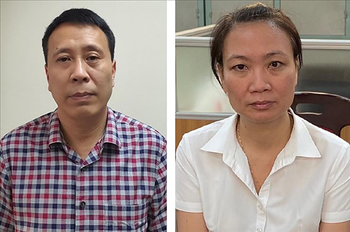 Bị can Đỗ Anh Tuấn (trái) và Bùi Phương Thảo tại cơ quan điều tra. Ảnh: Bộ Công an.