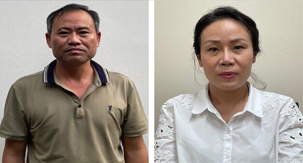 Bị can Bùi Văn Mận (trái) và Hoàng Thị Kim Loan. Ảnh: Bộ Công an.